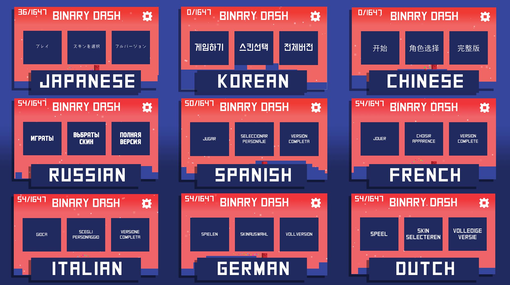 Binary Dash Languages